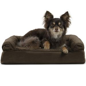 FurHaven NAP Plush Faux Fur and Suede Orthopedic Sofa Bed